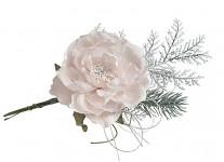 Zimní větvička s růžičkou - krémová