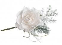 Zimní větvička s růžičkou - bílá