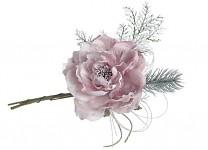 Zimní větvička s růžičkou - starorůžová