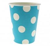 Papírové kelímky modré s bílými puntíky - 6ks