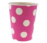 Papírové kelímky růžové s bílými puntíky - 6ks