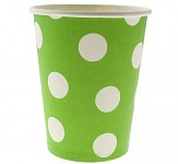 Papírové kelímky zelené s bílými puntíky - 6ks