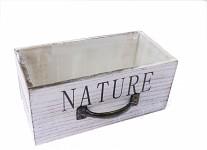 Dřevěný šuplík podélný - nature - bílo-šedý - 22 cm