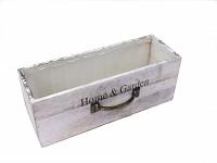 Dřevěný šuplík podélný - home and garden - bílo-šedý