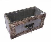 Dřevěný šuplík podélný - šedý s kůrou - 19 cm