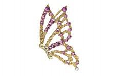 Nalepovací šperk  - zlatý motýl - růžové kamínky - 1ks