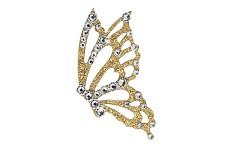 Nalepovací šperk - zlatý motýl - čiré kamínky - 1ks