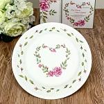 Papírové talíře - květinové srdce  - 8ks