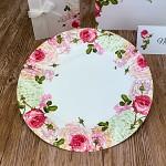 Papírové talíře - pivoňky a růže - 8 ks