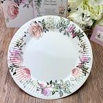 Papírové talíře - pastelové květy - 8 ks
