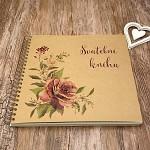Svatební kniha hostů LUX - recykl s růžemi