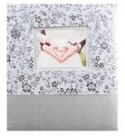 Svatební fotoalbum na fotolepky - stříbrné květiny