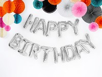Fóliový nápis stříbrný - happy birthday