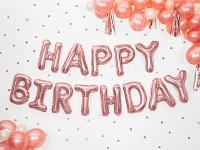 Fóliový nápis růžový - happy birthday