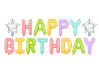 Fóliový nápis pastelové barvy - happy birthday