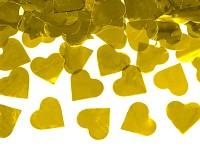 Vystřelovací konfety 60 cm - zlatá srdíčka