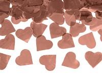 Vystřelovací konfety 60 cm - růžovozlatá srdíčka