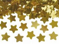 Vystřelovací konfety 40 cm - hvězdy zlaté