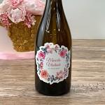 Etiketa na svatební víno 0,7l - květinový věnec