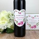 Etiketa na svatební víno 0,7l - květinové srdce