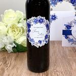 Etiketa na svatební víno 0,7l - modré květy