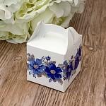 Krabička dárková s ouškem malá - modré květy