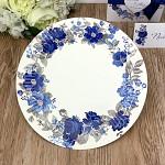 Papírové talíře - modré květy - 8 ks
