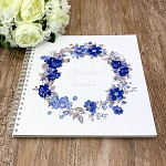 Svatební kniha hostů LUX - modré květy