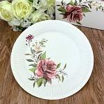 Papírové talíře - bílé s růží - 8 ks