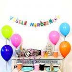 Girlanda papírová barevná 8 x 150 cm - veselé narozeniny