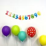Girlanda papírová barevná - narozeninové číslice
