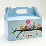 Krabička na sladkosti s ouškem velká - modré sovičky