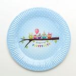 Papírové talíře - modré sovičky s puntíky - 8ks