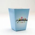 Krabička na popcorn - modré sovičky s puntíky - 1ks