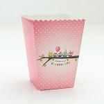 Krabička na popcorn - růžové sovičky s puntíky - 1ks