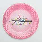 Papírové talíře - růžové sovičky s puntíky - 8ks