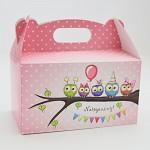 Krabička na sladkosti s ouškem velká - růžové sovičky