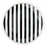 Papírové talíře - černé pruhy - 8ks