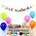 Girlanda papírová barevná 14 x 150 cm - veselé narozeniny