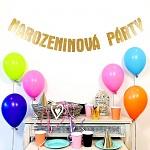 Girlanda papírová zlatá 14 x 150 cm - narozeninová párty