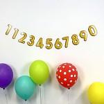 Girlanda papírová zlatá 14 x 150 cm  - narozeninové číslice