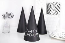 Party čepičky papírové - černé křídové 6ks