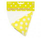 Party čepičky papírové - žluto-bílé - 6ks