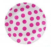 Party papírové talířky - bílo-růžový puntík 6ks