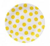 Party papírové talířky - bílo-žlutý puntík 6ks