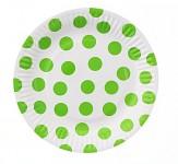 Party papírové talířky - bílo-zelený puntík 6ks