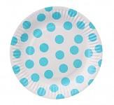 Party papírové talířky - bílo - modrý puntík 6ks