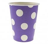 Papírové kelímky fialové s bílými puntíky - 6ks