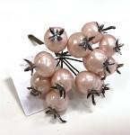 Bobulky zápich 10mm - pudrově růžové perleťové - 12 ks