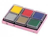 Razítkovací polštářky - barevný mix - 6 ks
